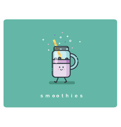 flat icon friendly jar of smoothies character vector image vector image
