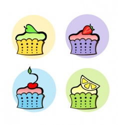 fruit cakes vector image vector image