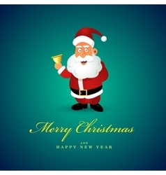 Funny Santa Claus character with golden bell vector image vector image