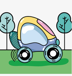 Futuristic car on the grass and trees vector