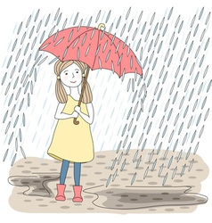 Girl with big red umbrella vector image