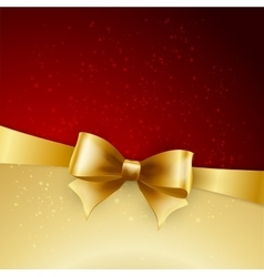 golden bow on red background vector image