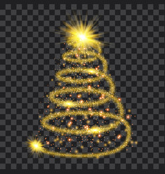 golden particle wave in form of christmas tree vector image vector image