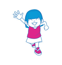 Little girl happy with face expression cartoon vector
