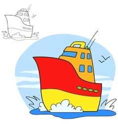 Motor ship coloring book page vector