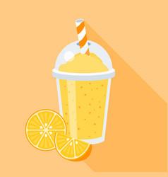 orange juice in plastic grass vector image