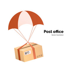 Post office airmail delivery service packege with vector