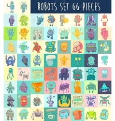 Robots Set Hand Drawing vector image