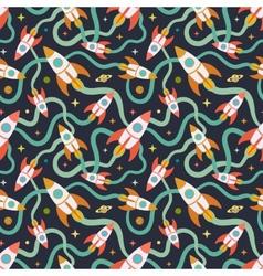 Seamless pattern with the cartoon rockets vector image vector image