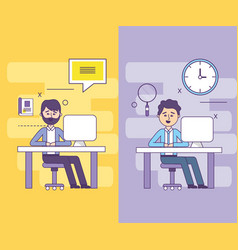 set businessman with computer documents vector image