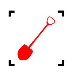 Shovel to work in the garden red icon vector