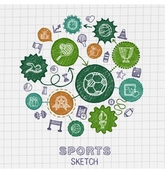 Sport hand drawing integrated sketch icons vector image
