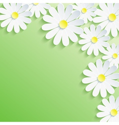 Summer background with 3d flower chamomile vector image vector image