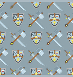 Sword and shield seamless pattern protection vector