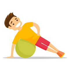 Young caucasian white man exercising with fitball vector