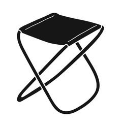 Folding stool icon in black style isolated on vector