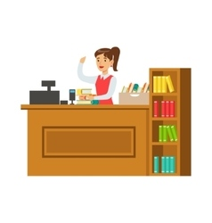 Librarian at her workplace with bookshelves vector
