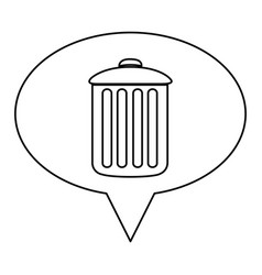 Monochrome contour of oval speech with trash vector