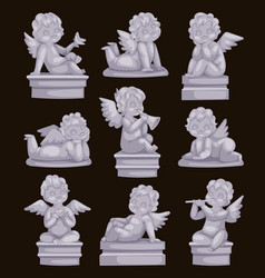 Beautiful statue of angel praying isolated marble vector