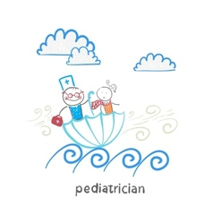 pediatrician with baby sitting in an umbrella and vector image