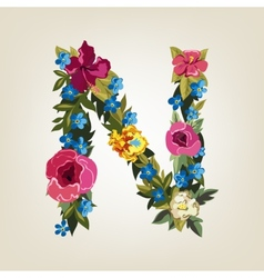 N letter flower capital alphabet colorful font vector