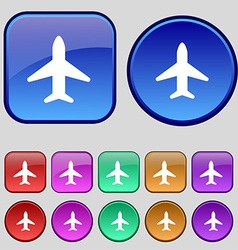 Airplane plane travel flight icon sign a set of vector