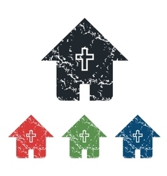 Christian house grunge icon set vector