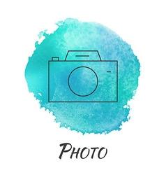 Photo camera watercolor concept vector