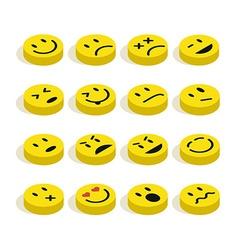 Flat isometric Emoticons set vector image