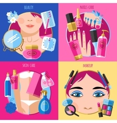 Makeup beauty 4 flat icons square vector