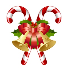 Candy canes decorated with bells vector