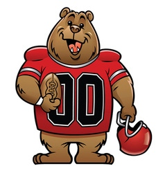 bear cartoon football mascot vector image
