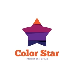 Paper style multicolor star logo flat vector
