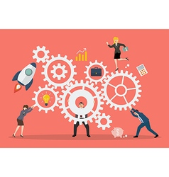 Business teamwork concept with mechanism system vector