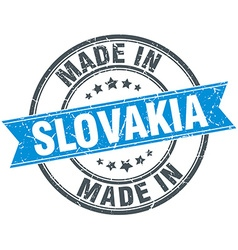 Made in slovakia blue round vintage stamp vector