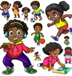 African American kids doing different things vector image vector image