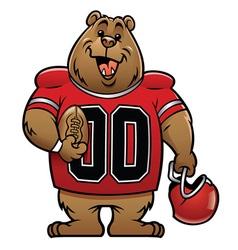 Bear cartoon football mascot vector