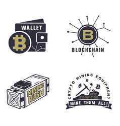 blockchain bitcoin crypto currencies emblems and vector image