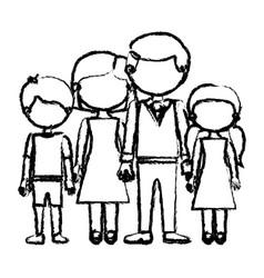 Blurred black contour faceless family group taken vector