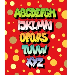 Bright cartoon comic graffiti font alphabet vector