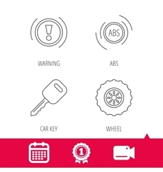 Car key abs and wheel icons vector