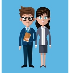 Cartoon man woman coworkers corporate vector