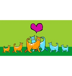 Cats with offspring vector image vector image