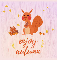 Cute cartoon squirrel card vector