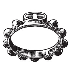 Decad ring having knobs vintage engraving vector
