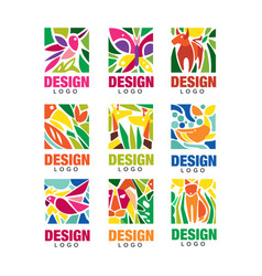 design lodo set labels with plants birds and vector image vector image