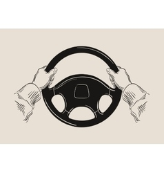 Driver holding car steering wheel graphic vector