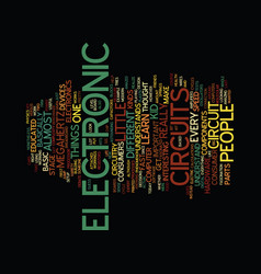 electronic circuits text background word cloud vector image vector image