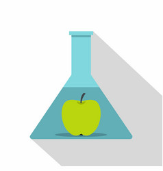 Green apple in glass test flask icon flat style vector