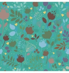 Green floral seamless pattern colorful flowers vector